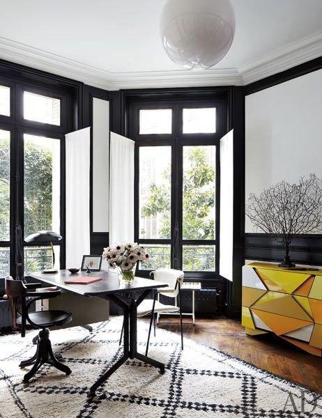 ad-cococozy-black-white-home-office-olivetti-desk-beni-ourain-moroccan-carpet-rug